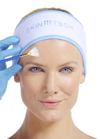 woman having chemical skin peel